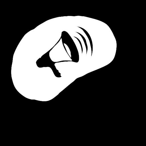 Logo der Kopfstimme: weibliche Büsten-Illustration und im Kopf ist ein grafisches Megaphon abgebildet.