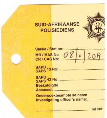 Foto: Polizei Diebstahlbestätigung von Kapstadt