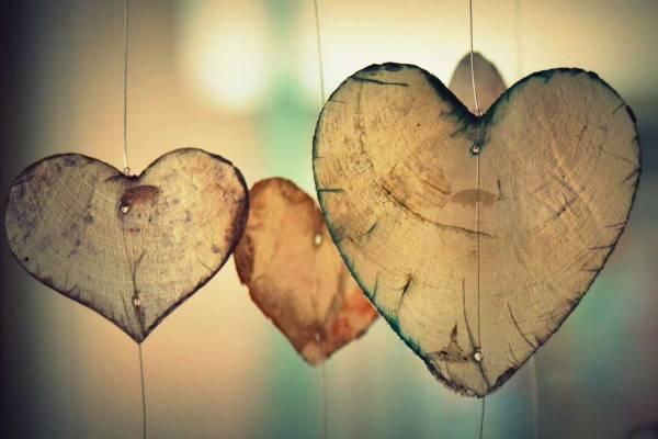 Foto: Aus Holz geschnitzte Herzen