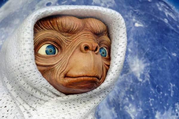 Foto: Außerirdischer E.T. in ein Handtuch gewickelt.
